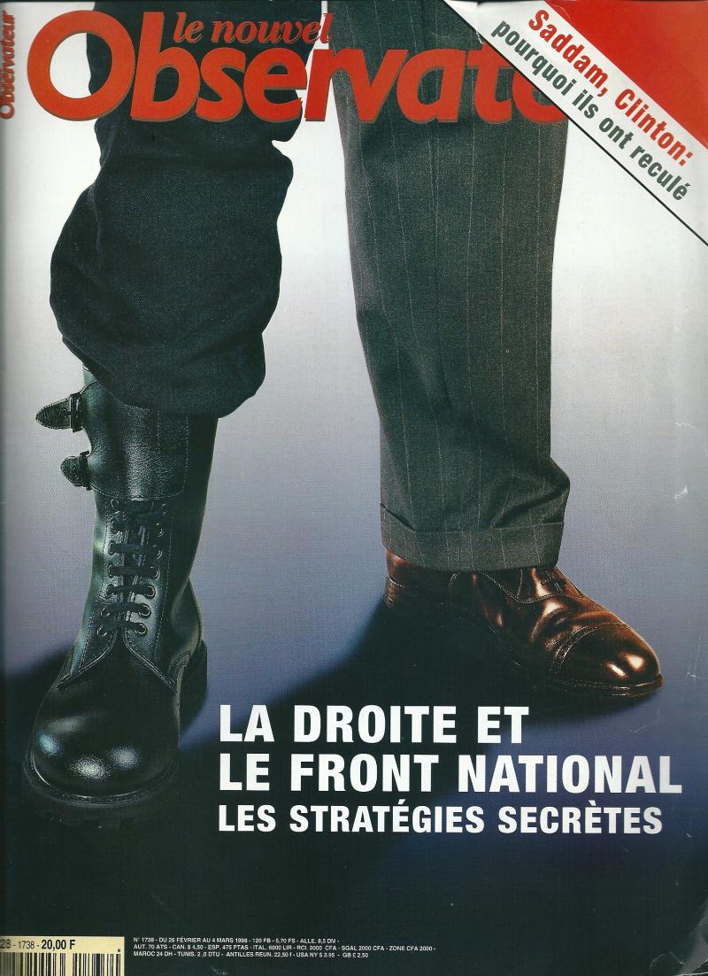 9aa. La droite et le Front national Le Nouvel Obs M 2228 -1738 - 20 00F 26fév-4 mars 1998.@ Jacques Graf:Yan. jpg