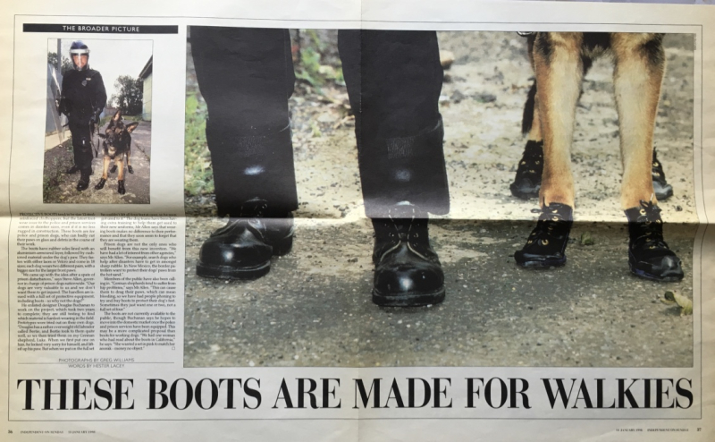 32d. These boots are made for walkies. The Independent on Sunday  January 18  1998. @Photo Greg Williams  @words by Hester Lacey. IMG_4967_1024