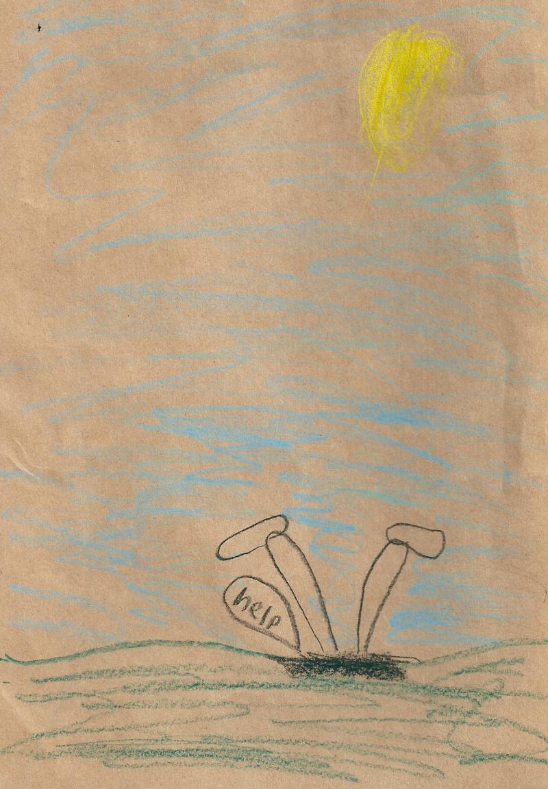 22f. Dessin de mon petit fils Albee  6 ans  flattant ma marotte. 2011