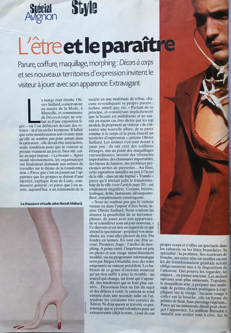 31g. La chaussure virtuelle selon Benoît Méléard. Express magazine. Spécial Avignon. Rubrique Style. 25.5.2000. @mtw