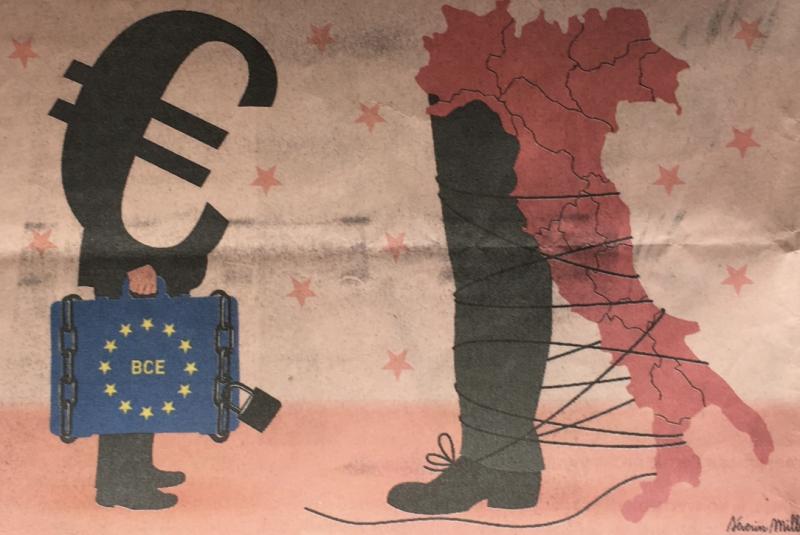 10a. %22La crise politique italienne met en cause l'efficacité du dispositif d'urgence de la BCE. Le monde 1 mars 2013. @texte Marie de Vergès. Dessin@ Séverin Millet.IMG_5747_1024