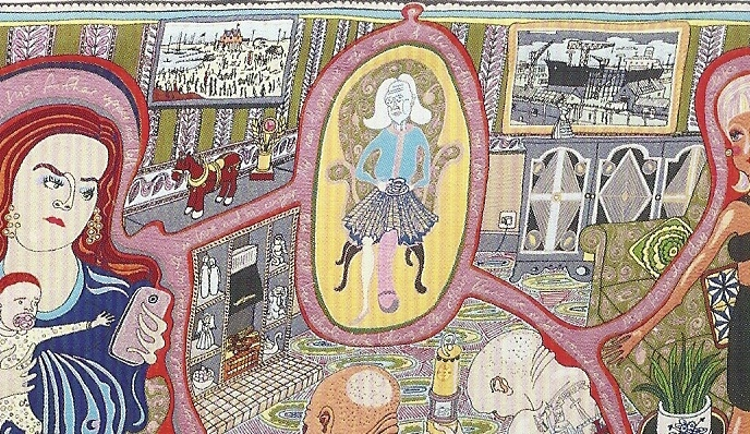 36d. Grayson Perry. The Vanity of Small Differences. The Adoration of the Cage Figthers  2012. Tapestry 200x400cm. Courtesy the artist and Victoria Miro  London. @Grayson Perry. The Foundling Hospital. 19:8:2014 Détail@ mtw. png_1024