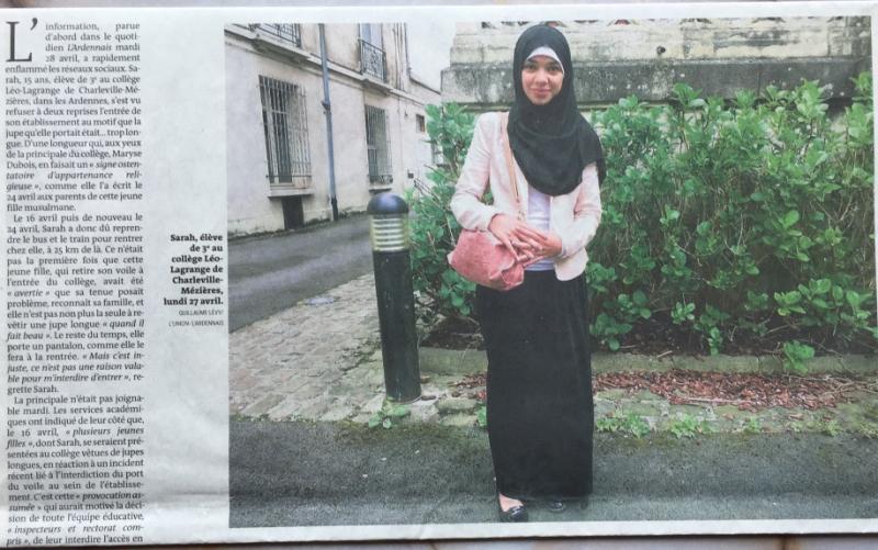 12e. Crispation à l'école sur les jupes longues. Sarah  15 ans  s'est vu interdire à deux reprises l'entrée à son collège de Charleville-Mézières. Le Monde 30 avril 2015. IMG_2568_1024