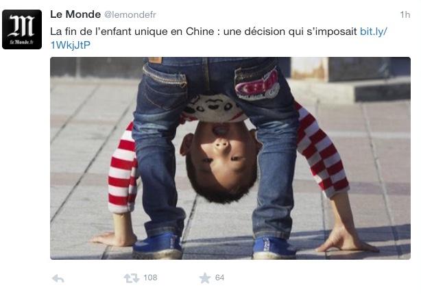 2l. %22Informal%22. Tweet du Monde  29 octobre 2015. La fin de l'enfant unique en Chine. Une décision simposait. IMG_8469_1024